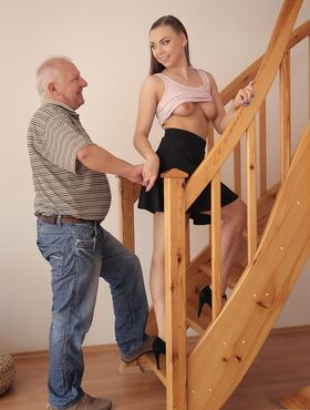 Chilling on her boyfriend's father dick