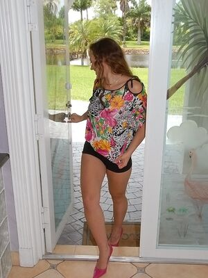 Cum Fiesta - Clothed babe Callie is undressing and masturbating her hot pussy