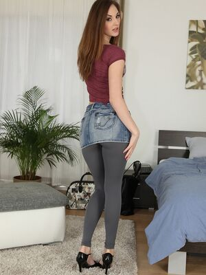 Mikes Apartment - First timer Arianda strops off skirt and yoga pants to masturbate pussy