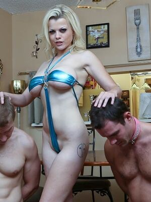 Subby Hubby - Blonde babe Nadia White gets her feet licked by two hot sex slaves