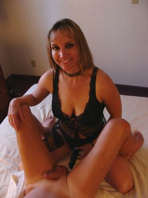 Club Dom - Wife Ashleigh slides a strapon in her hubby's anus while giving him a handjob