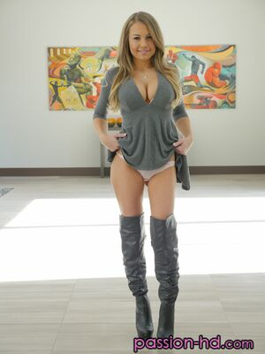 Passion-HD - Blonde chick Kendall Kayden strips to over the knee socks for New Years