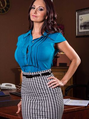 Brazzers - Busty Ava Addams strips into nothing but stockings in the office