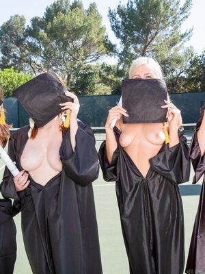 BFFS - College girls celebrate graduation with an all girl threesome in dorm