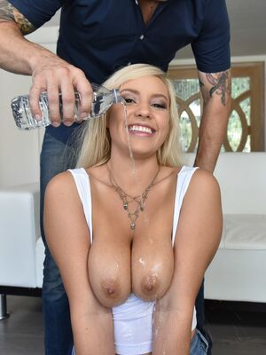 Titty Attack - Kylie Paige gets her big bouncing natural melons all oiled up by her man