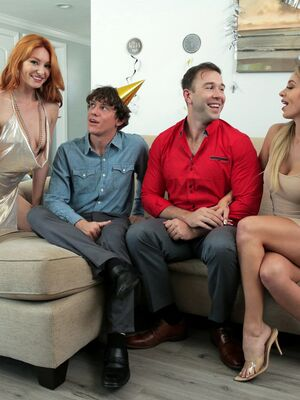 Family Swap XXX - Leggy females Madelyn Monroe and Lacy Lennon have a foursome on New Year's Eve