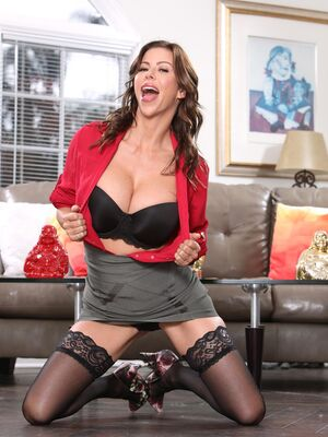 Hands on Hardcore - Captivating MILF in lacy stockings Alexis Fawx takes a dong in her love hole