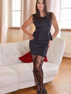 1 By Day - Stunning brunette babe Zafira reveals her magnificent breasts and toys herself
