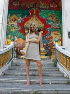 Paradise GFs - Petite girl Gina Gerson flashes a no panty upskirt on steps