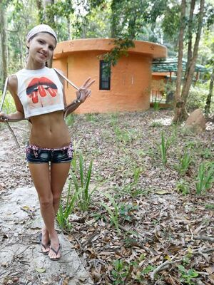 Paradise GFs - Skinny girl Gina Gerson deepthroats a cock during a blowjob in the woods