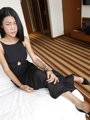 Hello LadyBoy - 21yo busty Thai ladyboy is so horny for cock that she jerks her own cock while