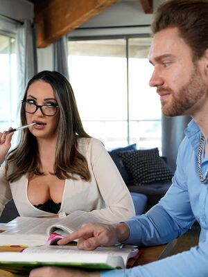 NF Busty - Sofi Ryan holds her big naturals for a cumshot after sex with a man friend