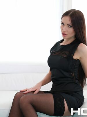 Holed - Brunette Russian Sasha Rose undresses and toys her butt with a glass dildo