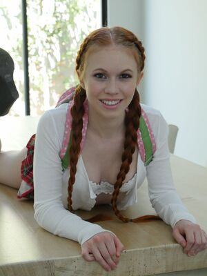 Lubed - Tiny redhead vixen Dolly Little in pigtails shows petite ass in tub of milk