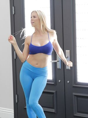 Pure Mature - Clothed blonde bombshell Alexis Fawx stripping off yoga pants before showering