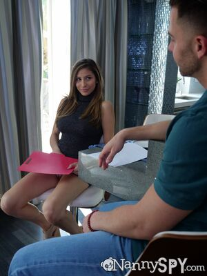 Nanny Spy - Brunette with big tits Nina Northblows a big dick, gets fucked and creampied