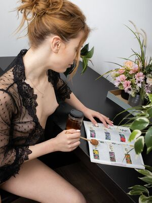 The Life Erotic - Natural redhead Deepika covers her pussy in honey during a solo engagement